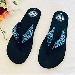 NWOT Reef Smoothy Sandals Blue Strap Men's 13